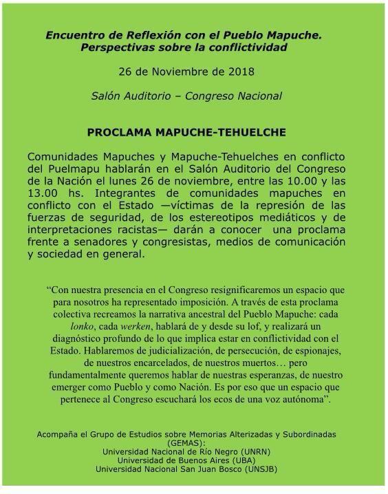 Encuentro de Reflexión con el Pueblo Mapuche. Perspectivas sobre la conflictividad. 26 de Noviembre de 2018. Salón Auditorio-Congreso Nacional