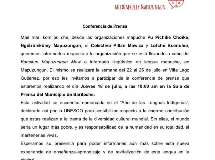 Conferencia de Prensa: Koneltun MapuzungunMew